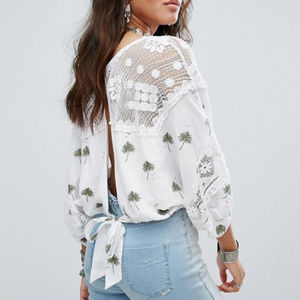 FREE PEOPLE Embroidered Carolina Mindset top